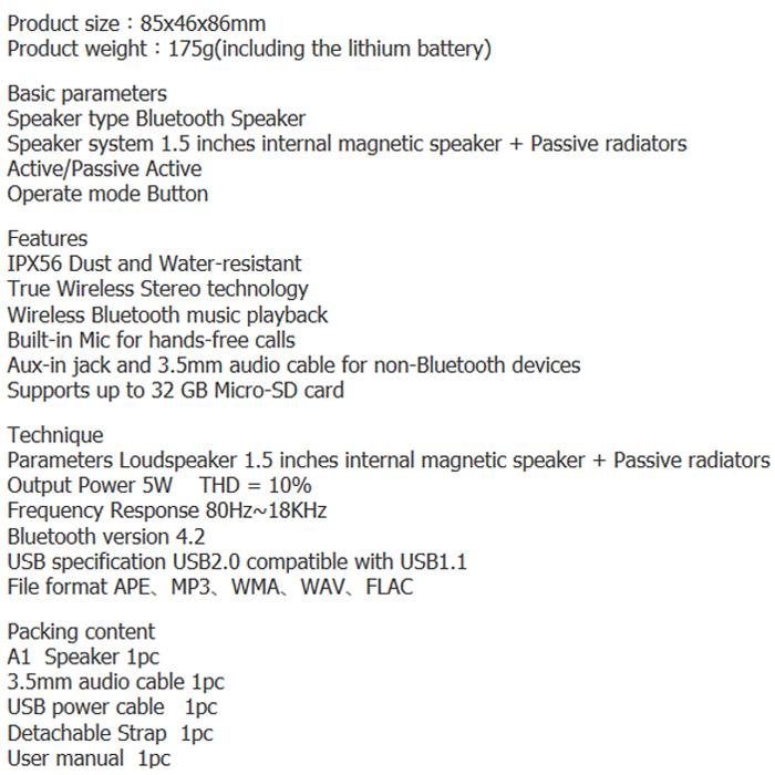 ลำโพงไร้สาย Mifa A1 Bluetooth Speaker Tech Spec