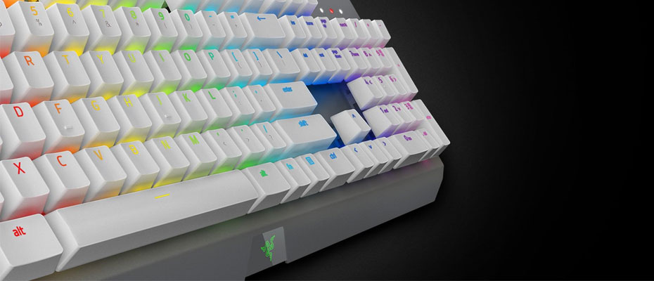 คีย์บอร์ด Razer BlackWidow X Chroma Mercury White Edition Mechanical Keyboard Green SW ซื้อ