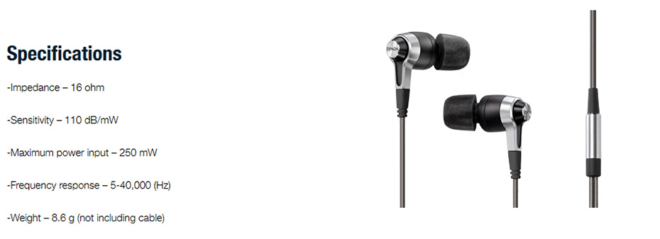 หูฟัง DENON AHC-720 In-Ear Tech Spec