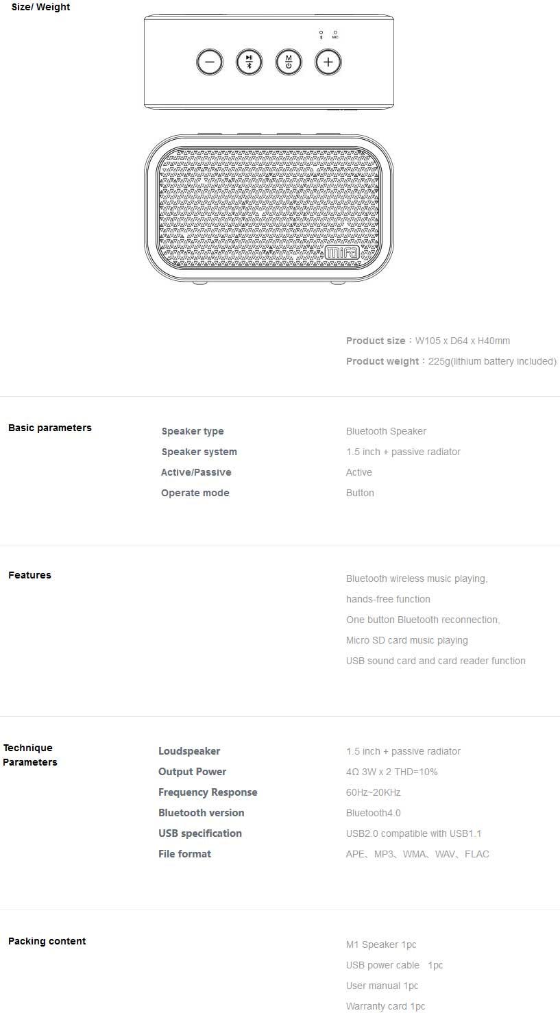 ลำโพงไร้สาย Mifa M1 Bluetooth Speaker Tech Spec
