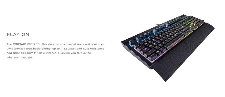 คีย์บอร์ด Corsair K68 RGB Mechanical Keyboard Red Switch (Thai) ราคา