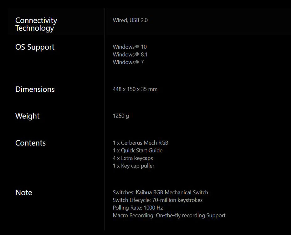 Asus Cerberus Mech RGB Mechanical Keyboard Red Switch สเป็ค