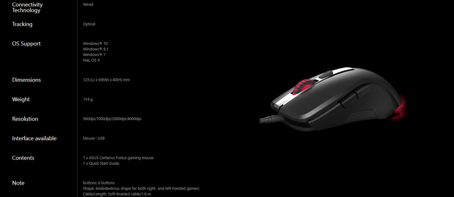 Asus Cerberus Fortus Wireless Mouse Spec