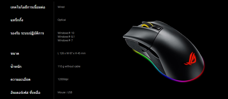 เมาส์ Asus ROG GLADIUS II Gaming Mouse