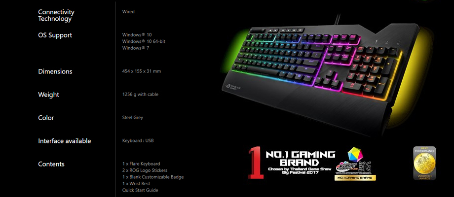 Asus Strix Flare keyboard สเปค