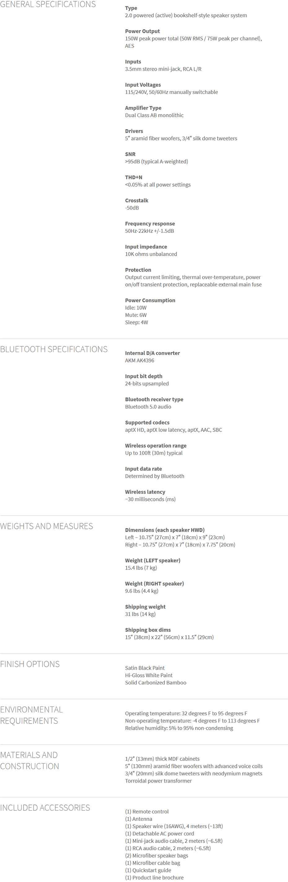 ลำโพง Audioengine A5+ Wireless Speaker Tech Spec