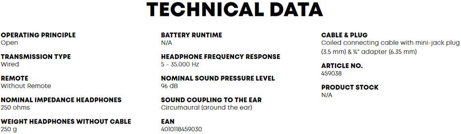 หูฟัง Beyerdynamic DT 990 PRO 250 ohms Headphone Tech Spec