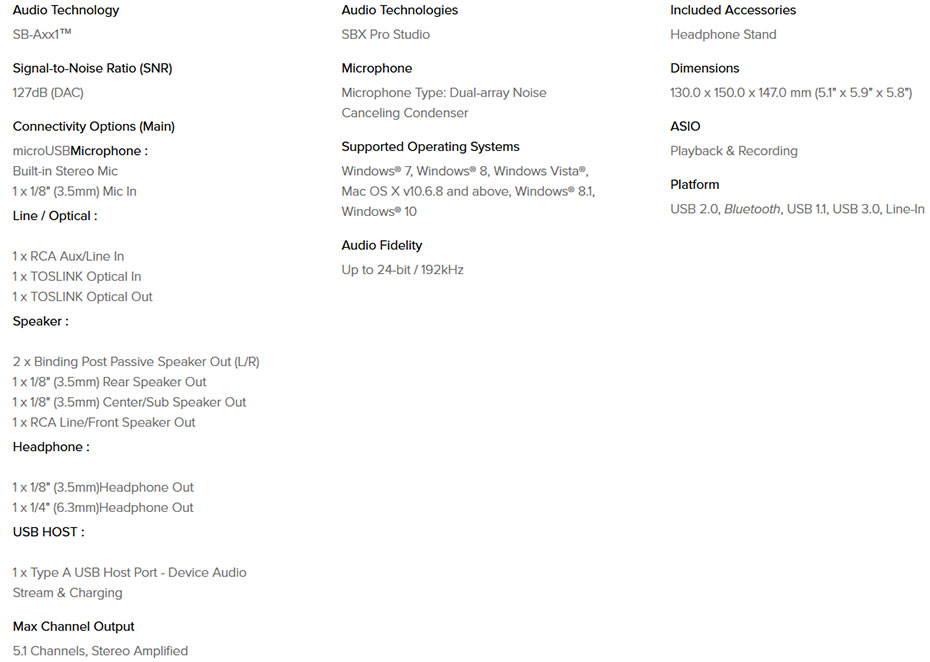 Creative Sound Blaster X7 Dac-Amp Tech Spec
