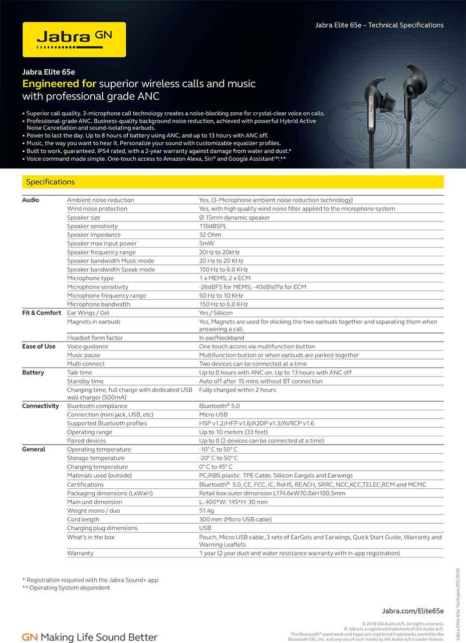 หูฟังไร้สาย Jabra Elite 65e In-Ear Tech Spec