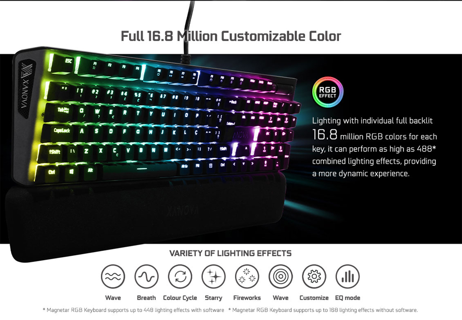 Xanova Magnetar RGB Mechanical Keyboard จุดเด่น