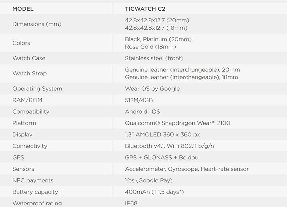 Ticwatch C2 Sport Watch สเป็ค