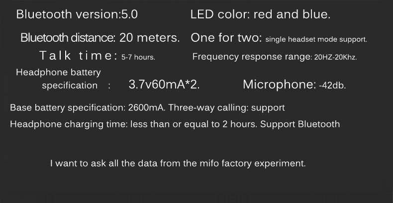 หูฟังไร้สาย Mifo O5 True Wireless Tech Spec