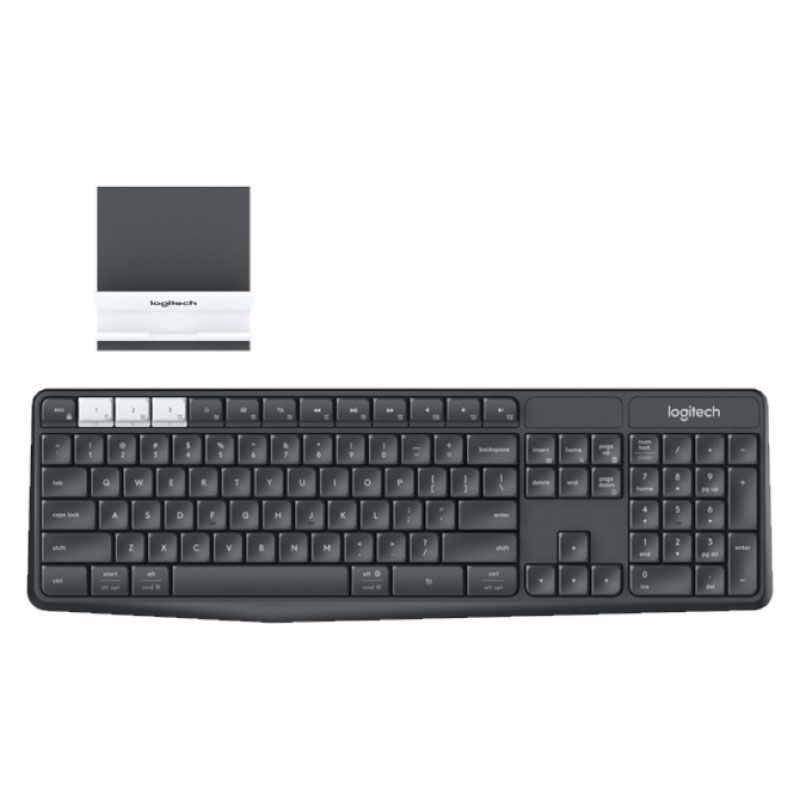 คีย์บอร์ดไร้สาย Logitech K375s Multi-Device Wireless Keyboard + Stand Combo