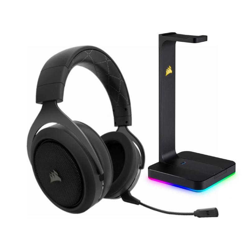 ชุดหูฟังเล่นเกม Corsair HS70 Wireless + Corsair ST100 RGB